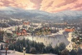 Картинка снеговик, праздник, горы, зима, ёлка, Sunset on Snowflake Lake, мельница, город, городок, поезд, лес, Thomas ...