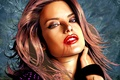 Картинка глаза, лицо, волосы, губы, царапины, Alessandra Ambrosio, Алессандра Амброзио, девущка, касотка