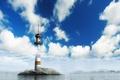Картинка маяк, облака, небо, вода, остров