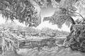 Картинка чёрно белое, карандаш, зима, арт, GURAM, природа