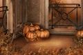 Картинка осень, листья, праздник, тыквы, Halloween, балкон, Хэллоуин, autumn, holiday, pumpkins, Hallowe'en, День всех святых, 31-е ...