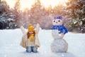Картинка Зима, Девочка, Шапки, Снеговик, Дети, Снежинки
