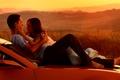 Картинка Любовь, романтика, машина, трансформеры, люди, закат