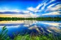 Картинка озеро, зелень, небо, обработка, деревья, берег, облака