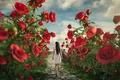 Картинка Alice in the land of roses, девушка, розы, тропа