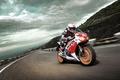 Картинка небо, гора, скорость, Трасса, гонщик, Honda CBR1000RR