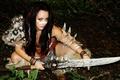 Картинка оружие, взгляд, barbarian, лицо, косплей, волосы, мех, девушка