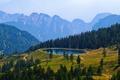 Картинка пруд, небо, бассейн, горы, деревья