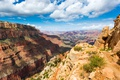 Картинка США, облака, скалы, небо, Grand Canyon National Park, ущелье, каньон, горы, солнечно, камни