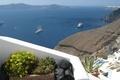 Картинка скалистый берег, Греция, корабли, Санторини, остров, море, горизонт, камни