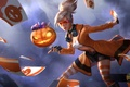 Картинка Heroes of Newerth, блондинка, карты, тыква, Trick-or-Treat, девушка, Tarot, очки