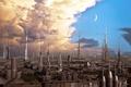 Картинка planet, towers, clouds, birds, iron city, sky