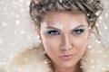 Картинка лицо, крупным планом, красотка, снежинки, прическа, макияж, мех, девушка