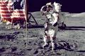 Картинка космос, поверхность, Луна, флаг, американцы, NASA, снимок, астронавт, высадка, foto, на Луне