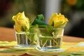 Картинка две, розы, желтые, стопки