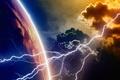 Картинка planet, lightning, atmosphere, energy