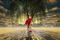 Картинка дерево, зонт, арт, девочка, плакучая ива