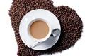 Картинка зерна, кофе, чашка, сердце