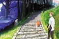 Картинка Nyanko-sensei, Takashi Natsume, школьница, Natsume Yuujin-Chou, Yuki Midorikawa, дорога, ворота, алтарь, Тетрадь дружбы Нацумэ, art, ...
