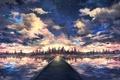 Картинка рисунок, вода, мост, лес, небо, облака, закат
