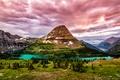Картинка горы, деревья, озеро, облака, скалы, Канада, Glacier National Park, камни