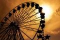 Картинка ride, широкоэкранные, воспоминания, аттракцион, silhouette, HD wallpapers, обои, ferris wheel, sunset, колесо обозрения, красивые картинки, ...