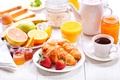 Картинка cup, круассан, выпечка, кофе, breakfast, coffee, фрукты, завтрак, croissant, джем, jam