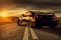 Картинка свет, солнце, Nissan, дорога, GTR