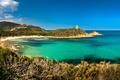 Картинка солнечно, Франция, Zonza, побережье, пляж, бухта, море, голубое, Corsica, небо, горизонт
