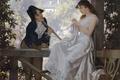 Картинка garden, сад, павильон, юноша, 19-th century, 19-й век, girl, Austria, trees, девушка, picture, Vienna, картина, ...