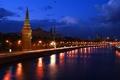 Картинка Москва, кремль, река, ночь