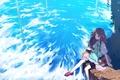Картинка Tamaki fuyu, небо, ветер, сидит, листья, облака