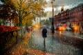 Картинка Санкт-Петербург, зонт, Октябрь, дождь, девушка