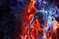 Картинка цвета, дым, мужчина, девушка, объятия, чувства