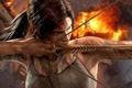 Картинка Tomb Raider, взрыв, дождь, кровь, девушка, survivor, стрела., Crystal Dynamics, reborn, огонь, Лара Крофт, Расхитительница ...