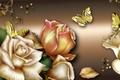 Картинка цветы, розы, бабочки, коллаж