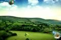Картинка Холмы, поле, воздушный шар