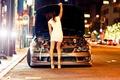Картинка дорога, машина, девушка, огни, Lexus, на улице