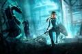 Картинка взгляд, Tomb Raider: Underworld, волосы, девушка, меч, щит, красавица, underworld, tomb raider