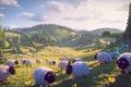 Картинка овечки, 3d-графика, природа, холмы