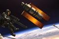 Картинка оружие, арт, астронавт, спутник, O.D.I.N., космос