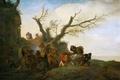 Картинка пейзаж, люди, картина, повозка, жанр, Attack on a group of travellers, Philips Wouwerman