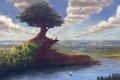 Картинка лодка, берег, мельница, город, древо, дерево, облака, небо, река, лес