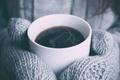 Картинка тепло, чашка, варежки, напиток, кофе, горячий