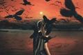 Картинка девушка, солнце, птицы, вороны, mythology series