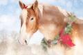 Картинка лошадь, конь, новый год, бант