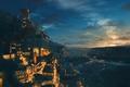 Картинка небо, звезды, облака, закат, горы, город, огни, дым, аниме, арт, вывески