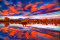 Картинка озеро, небо, горы, деревья, осень, облака