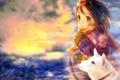 Картинка Девочка, настроение, собачка