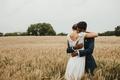 Картинка happiness, groom, wedding dress, love, wheat field, farmland, hug, bride, countryside, cloudy